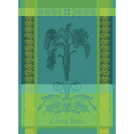 "Chou Kale Bleu Kitchen Towel 22""x30"", 100% Cotton picture"