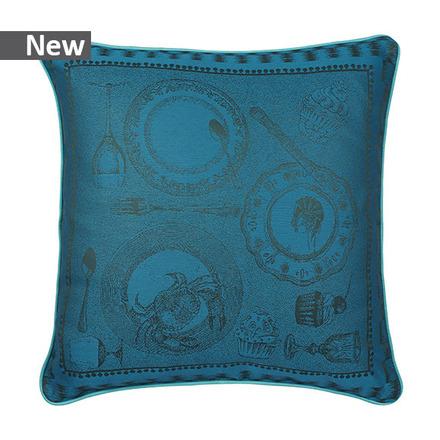 """Entre Amis Bleu Canard Cushion Cover 20""""x20"""", Cotton-2ea picture"""