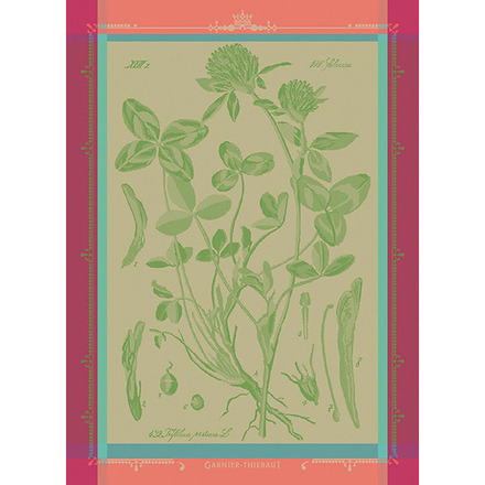 """Fleurs De Trefle Chlorophylle Kitchen Towel 22""""x30"""", 100% Cotton picture"""