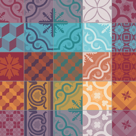 Mille Tiles Multicoloured Napkin, Cotton-4ea picture