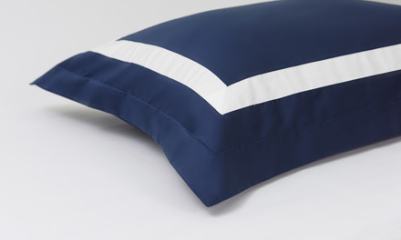 Proust Navy with White Band Queen Duvet Set, 300 thread count, 100% Cotton. picture