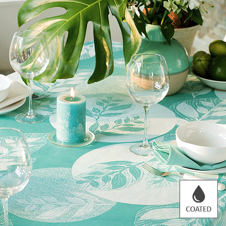 "Mille Verdoyant Turquoise Tablecloth 69"" Round, Coated picture"