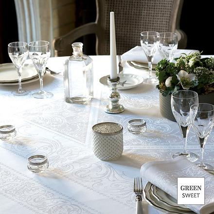 "Alexandrine Snow Tablecloth 69""x143"", Organic Cotton picture"