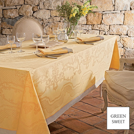 """Soubise Jaune D Or Tablecloth 68""""x99"""" GS Stain Resistant picture"""