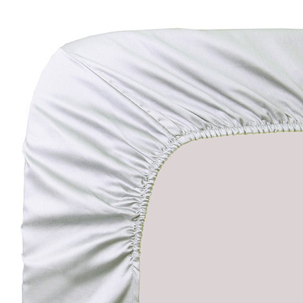 """Ava White Fitted Sheet 78""""x79"""", 100% Cotton picture"""