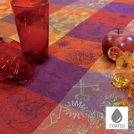 """Mille Alcees Feu Tablecloth 69""""x98"""", Coated Cotton picture"""