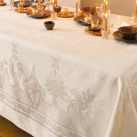 """Beauregard Ivoire Tablecloth 75""""x146"""", 100% Cotton picture"""