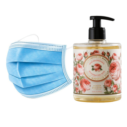 50 Disposable 3 layers masks + 3 bottles of Rejuvenating Rose French Hand Soap. picture