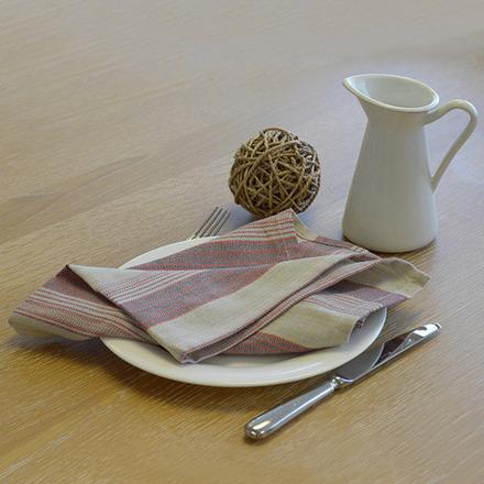 """Foresti Herringbone Multi-Color Striped Napkin 22""""x23"""", 100% Cotton picture"""