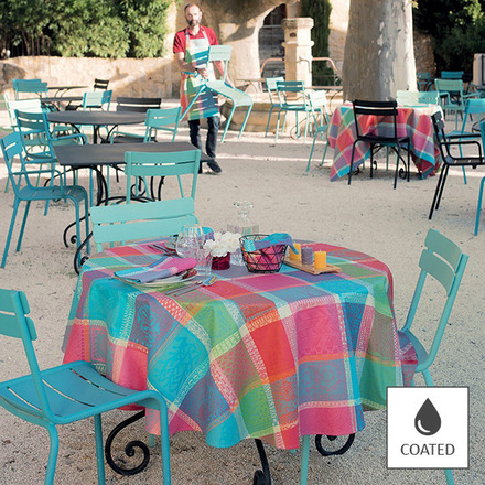 """Mille Wax Cocktail Tablecloth Round 69"""", Coated Cotton picture"""