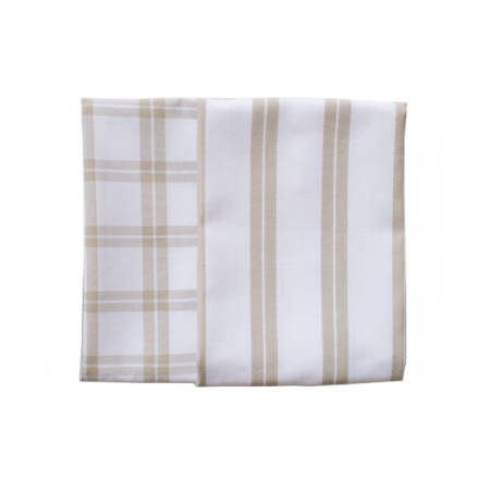 Natural Checker Stripe Kitchen Towels -SET of 2ea picture