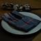 "Quadramuri Navy/Red Herringbone Checked Napkin 22""x23"", 100% Cotton additional picture 1"
