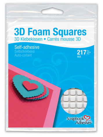 3D Foam Squares - White, Variety Pack picture