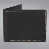 EMBOSSED SCRIPT LOGO BLACK LEATHER WALLET