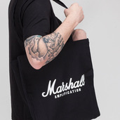 BLACK HEAVY CANVAS SHOPPER BAG WITH WHITE SCRIPT LOGO