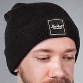 BLACK BEANIE WITH WHITE BOX LOGO