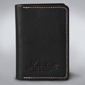 EMBOSSED SCRIPT LOGO BLACK LEATHER CARD HOLDER