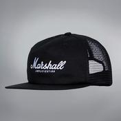 WHITE SCRIPT LOGO BLACK TRUCKER CAP