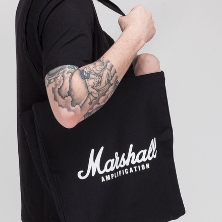 BLACK HEAVY CANVAS SHOPPER BAG WITH WHITE SCRIPT LOGO picture