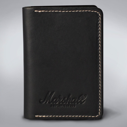 EMBOSSED SCRIPT LOGO BLACK LEATHER CARD HOLDER picture
