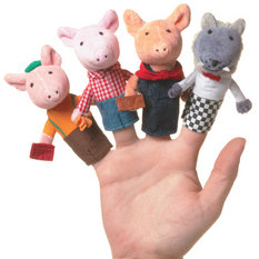 Three Little Pigs Boxed Finger Puppet Set