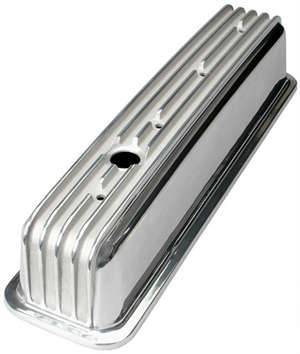 &quot;FINNED STYLE&quot; Retro Valve Covers; TALL; 1987-1999 CHEVROLET 5.0/5.7L- Alum. picture