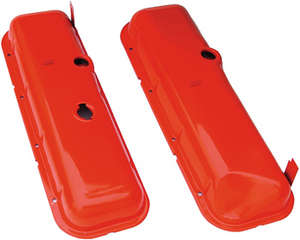 """O.E.M Reproduction"" Style Valve Covers; Short; 1965-72 BB Chevy (recessed corner)- CHEVY ORANGE picture"