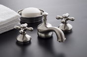 POLISHED NICKEL WIDESPREAD LAVATORY FAUCET SET WITH CROSSPOINT HANDLES (SHOWN IN MATTE NICKEL FINISH