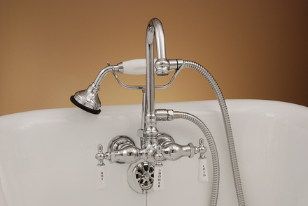 POLISHED NICKEL LEG TUB FAUCET WITH HANDHELD SHOWER picture