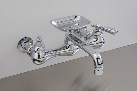 """CHROME WALL MOUNT KITCHEN FAUCET, 8"""" picture"""