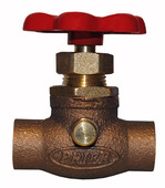 "22.41: 1/2"" SWT Compression Stop & Waste Valve with Red Handle"