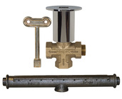 C-70BR: Hearthglow Log Lighter Kit; C-64 Gas Valve w/Polished Brass Escutcheon, C-69 Burner Bar, Hearth Key