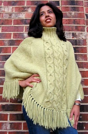 605 Cabled Alpaca Poncho picture