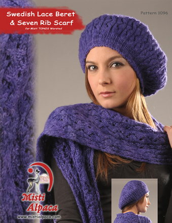 1096 Swedish Lace Beret & Seven Rib Scarf picture
