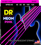 NPB5-45 NEON Hi Def Pink 5 String Bass Medium 45-125