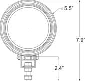"""5.5"""" ROUND BLACK 100 WATT TUNGSTEN EURO BEAM LAMP"""