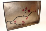 Big Tray - Cherry Blossom - espresso/black/red -  20x14.5x2""