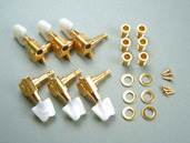 MB506G- 6-String Machine Head Set (L6)- Gold w/ Pearl Button