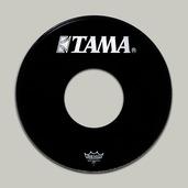 "6170BPT- 20"" Remo Ebony Ambassador Head with White TAMA Logo and 10"" Hole"