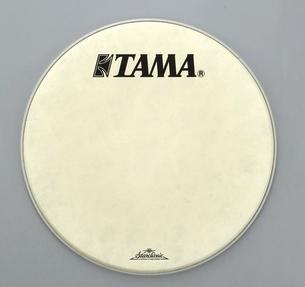 "FB22BMFS- 22"" Vintage White Fiber Laminated Head with TAMA and Starclassic Logo picture"