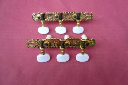 5AMH07N - Machine Head Set- Classical Guitar (Gold Plate w/ White Buttons) picture