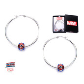 Captain America Logo Bead Hoop Earrings