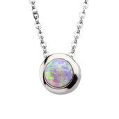 Pink Synthetic Opal Pendant w/ Chain