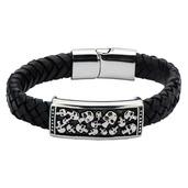 Black Braided Leather with Steel Skull ID Bracelet