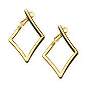 IP Gold Diamond Hoop Earrings