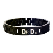 Black IP ID with Clear CZ and Steel Engraved DAD Link Bracelet
