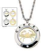 Reversible 4-Way Gold IP & Steel Cancer Zodiac Pendant