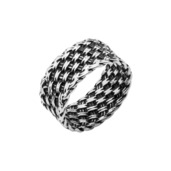Black Oxidized Woven Design Ring