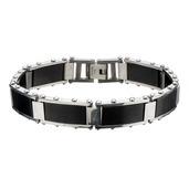IP Black Rectangular Link Bracelet