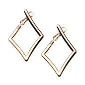 IP Rose Gold Diamond Hoop Earrings
